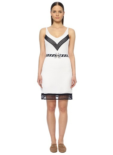 NetWork Kadın 1072918 Slim Fit Dokulu Mini Elbise Lacivert